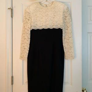 """Talbots"" Black / Cream Lace Formal Dress"